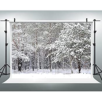 7x5ft Winter Photography Backdrops Snow Covered Pine Photo Background For Photograhers JXUS Xmas273
