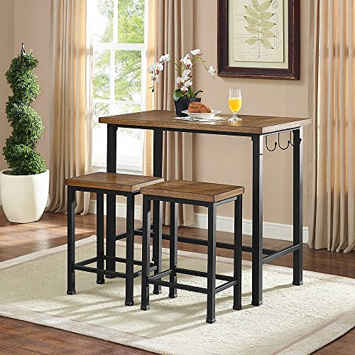 Linon Home Decor Products Pub Table Bar Set 2 Stools Chairs 3 Piece Kitchen Breakfast Nook Dining Bistro ()