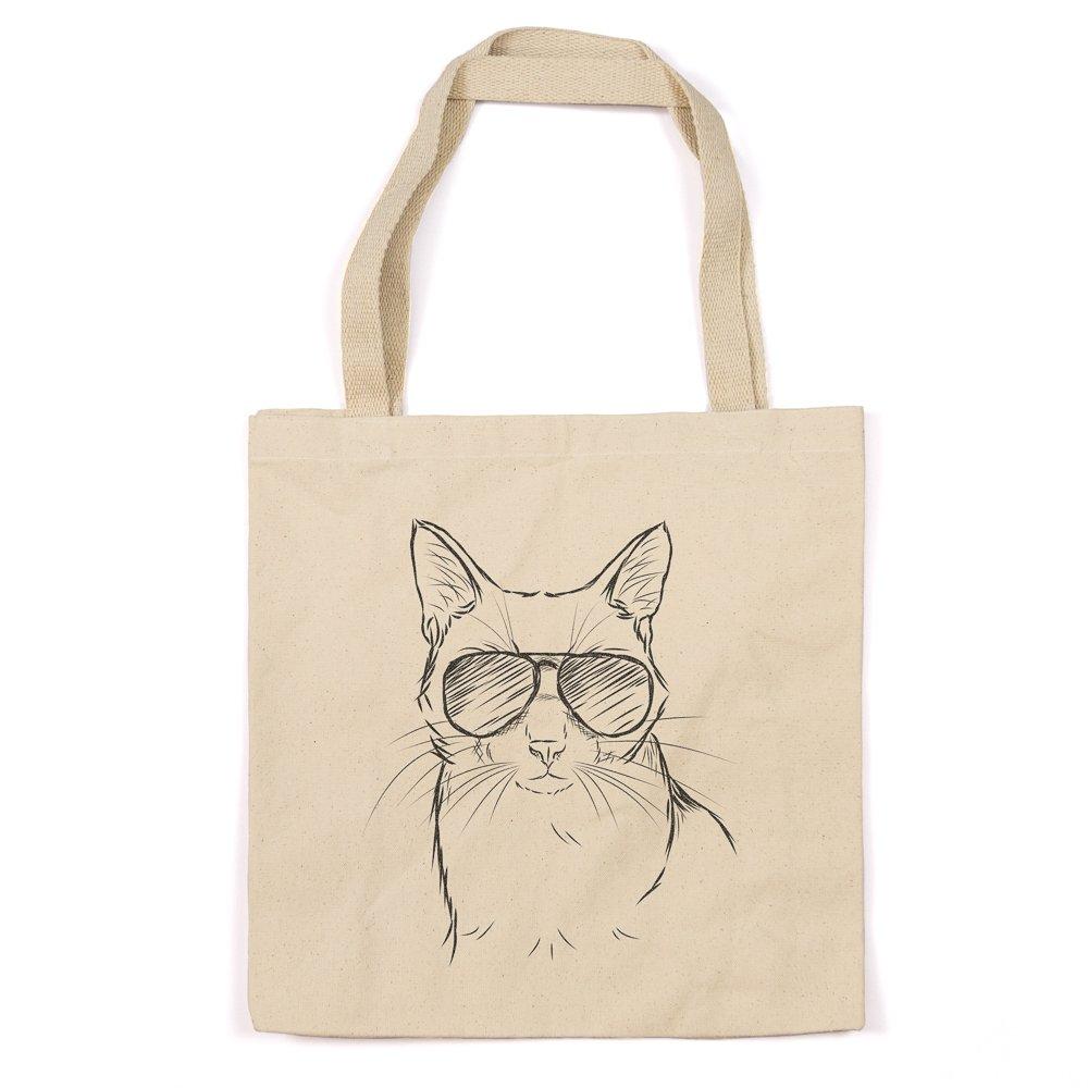 Cool Cat Heavy Duty 100 %コットンキャンバストートバッグショッピングReusable Grocery Bag 14.75インチx 14.75 X 5 Printed Both Sides TOTE-MAVERICK-CAT-DP-2-sides B01MXFCI6I  Printed Both Sides