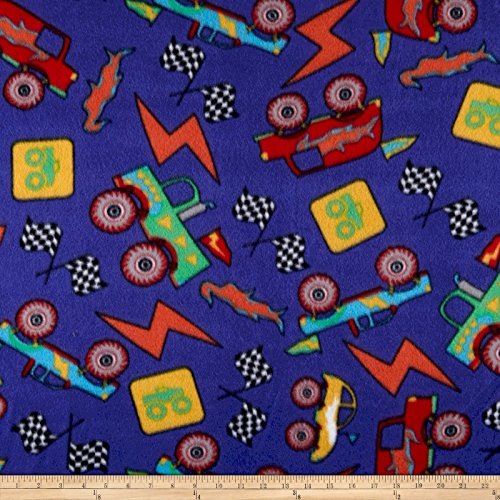 Newcastle Fabrics Polar Fleece Monster Trucks Royal Fabric by The Yard,