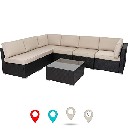 wholesale dealer 75486 673f5 walsunny 7 pcs Outdoor Black Rattan Sectional Sofa- Patio Wicker Furniture  Set Conversation Sets with Tea Table&Washable Couch Cushions (Khaki)