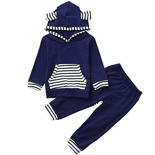 ef90fec68 Toddler Kids Baby Boys Girls Outfits Striped Hoodie Long Sleeve Top with  Pocket + 2PCS Pants