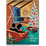Mid Century Couple Christmas Cards, Package of 8