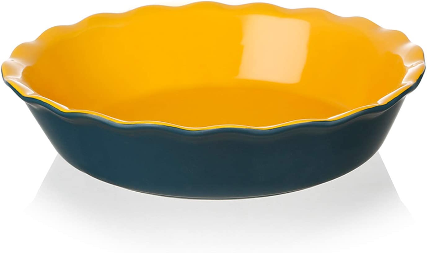 SWEEJAR Ceramic Pie Pan for Baking, 10 Inches Round Baking Dish for Dinner, Non-Stick Pie Plate with Soft Wave Edge for Apple Pie, Pumpkin Pie, Pot Pies (Blue&Yellow)