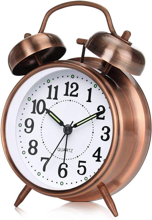 otumixx R/éveil Matin /à Double Cloche R/éveil R/étro Silencieux Horloge de Chevet avec Lumi/ère de Nuit pour Sommeil Bureau Chambre Voyage 4 Pouces Bronze