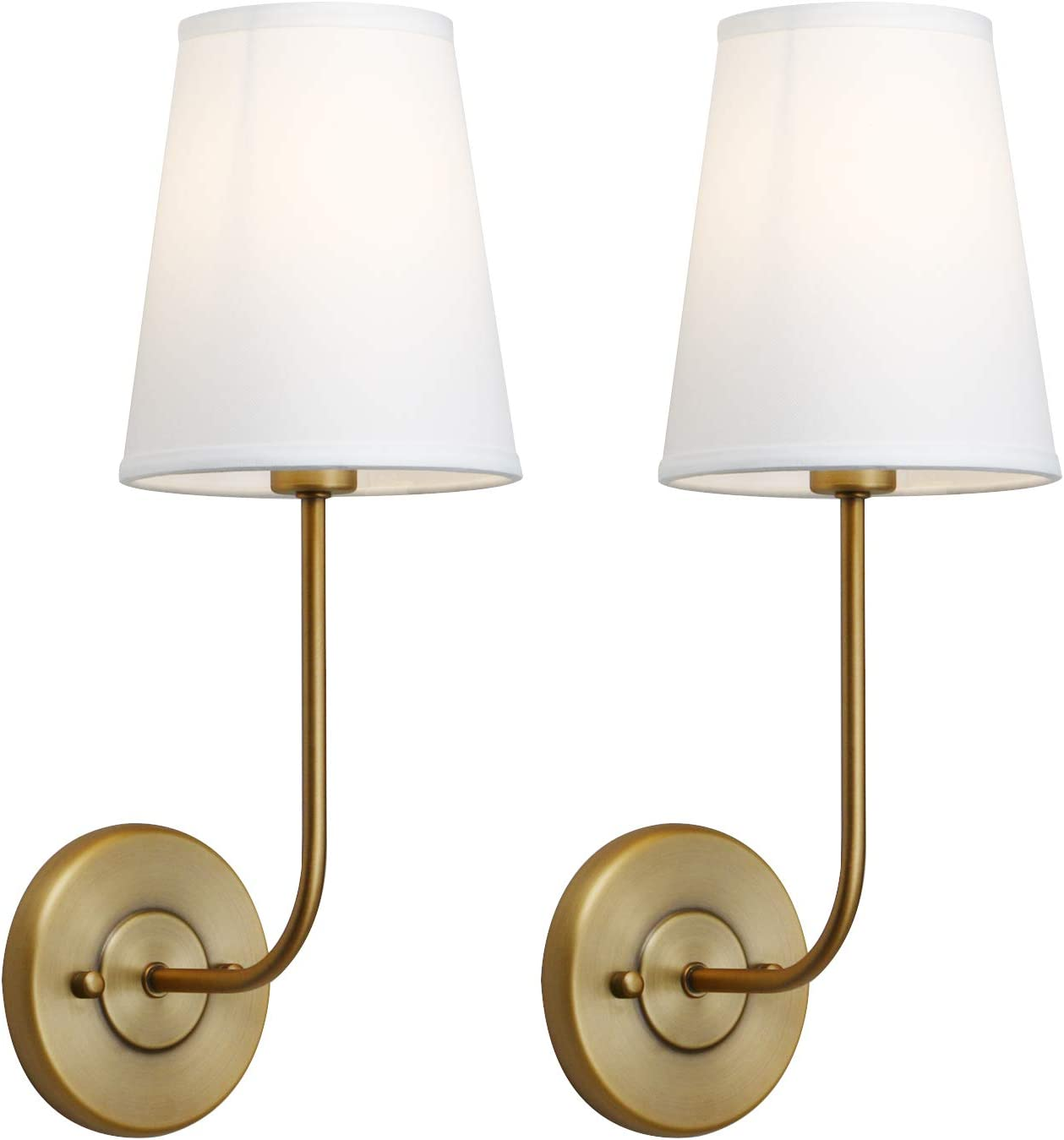 Pathson Industrial Wall Sconce with White Fabric Lamp Shade, 1-Light Vintage Indoor Wall Light Fixtures Suitable for Bedroom Living Room, Antique Brass Finish 2-Pack (Antique)