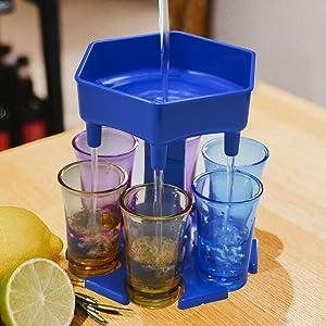HUARANXI 6 Shot Glass Dispenser and Holder,Drink Dispenser with 6 Galsses,Stoppers and Bottle Opener,Filling Liquids,Cockatil Dispenser Suitable for Parties