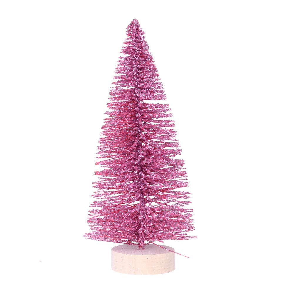 5.9'' Pink Pine Tree with Wooden Base DIY Christmas Tree Artificial Mini Desk Top Christmas Tree Festival Miniature Tree for Christmas Decor (A)