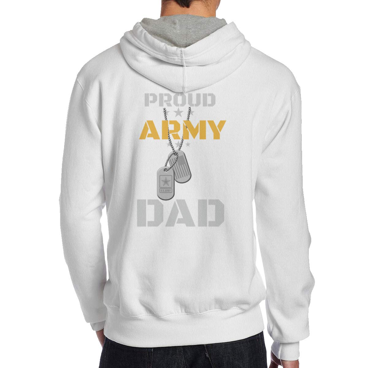 Oopp Jfhg Proud Army Dad Back Print Hoodie Sweatshirts Long Sleeve for Men