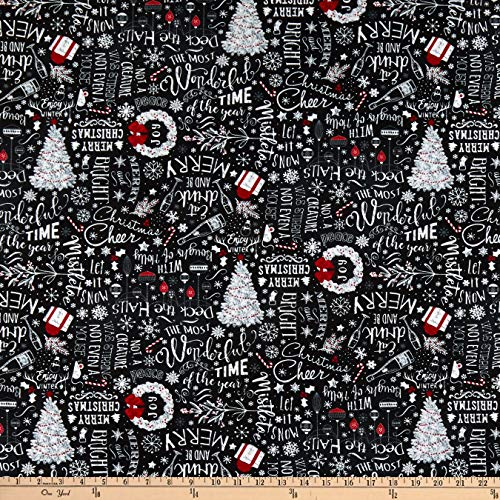 (Timeless Treasures Let It Snow Christmas Chalkboard Black, Fabric by the Yard)