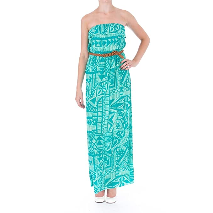 ad7aa5cdd Image Unavailable. Image not available for. Color: Trixxi Womens Juniors  Printed Strapless Maxi Dress ...