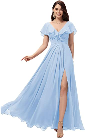 Women/'s Chiffon Long Bridesmaid Dresses Cocktail Wedding Evening Prom Ball Gown