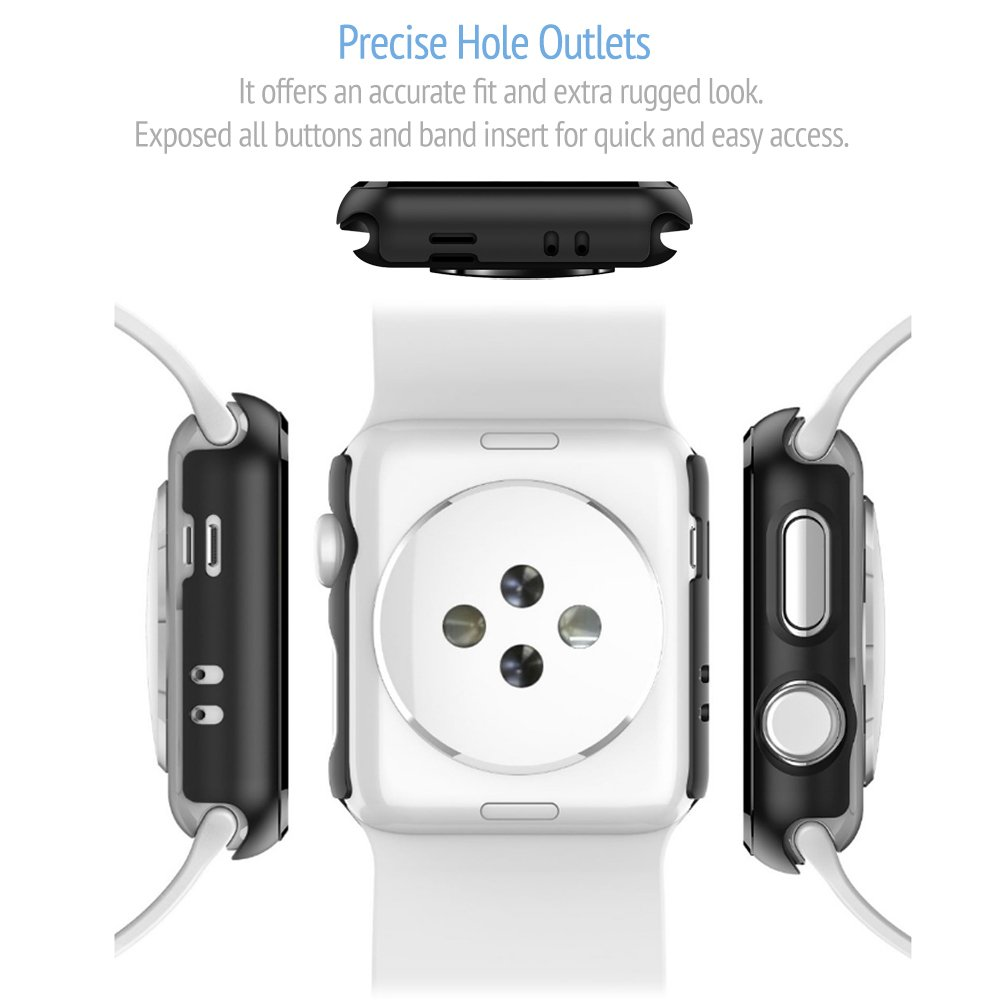 2 Pack Bumper for Apple Watch Case 42mm Series 3 - Ultra-Thin Anti-Scratch and Shockproof Hard iWatch Bumper Cover for Apple Watch Protector 42mm
