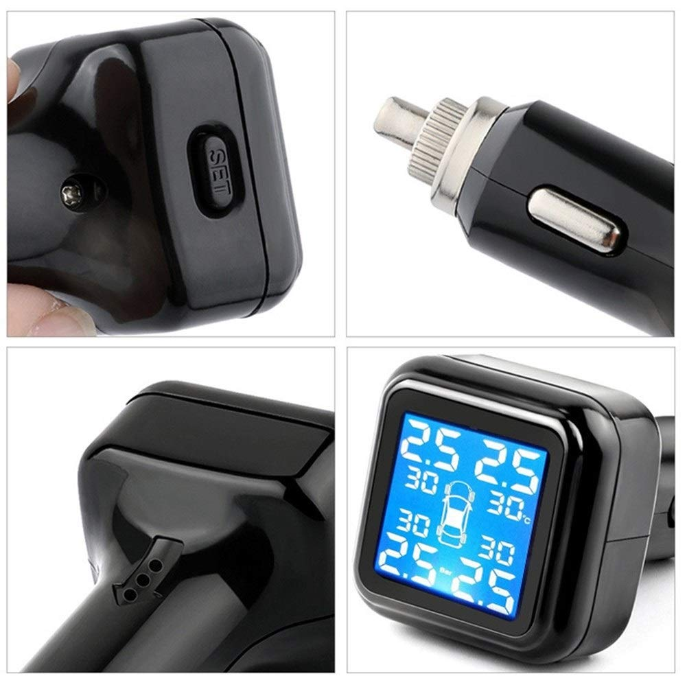 LCD Screen Display with 4 Waterproof Internal Sensors for Car Auto Alarm and Real Time Detection TPMS Tyre Pressure Monitoring System,Wireless Tire Pressure Checker with USB Rechargeable