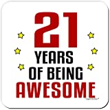 21 Years Of Being Awesome 21st Birthday Drinks Coaster By Itsperfectfor