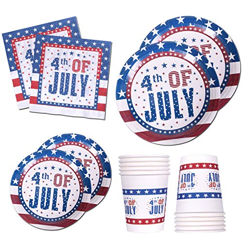 120 PCS Patriotic 4th of July Party Supplies Disposable Dinnerware Set Dinner Paper Plates Napkins Cups Blue Red Decoration, Serves 24 -