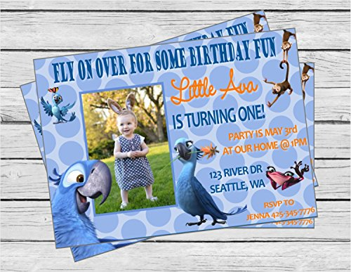 Tropical Rio 2 Inspired Happy Birthday Invitation - Blue Polka Dots & Orange, Royal Blue and White Accents - Party Packs - Party Supplies Birthday 2 Rio