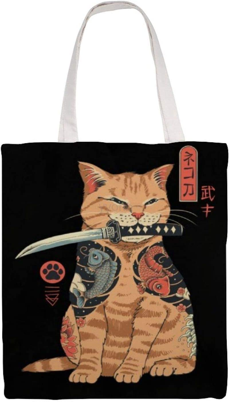 For shopping with. Cats cotton canvas shoulder bag