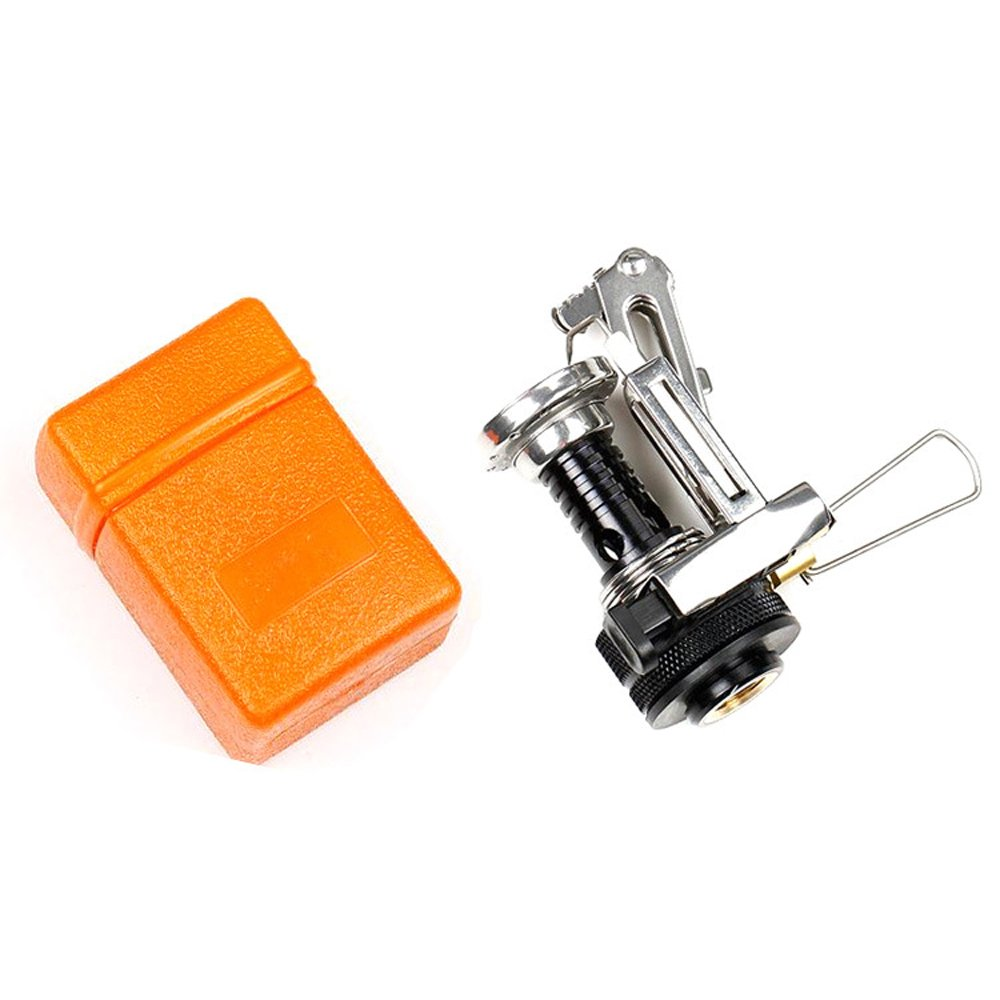 Continu Portable Ultralight Backpacking Canister Camp Stove with Piezo Ignition 3.9oz (silvery Stove and orange box) Hot Sale for camping hiking or outdoor living