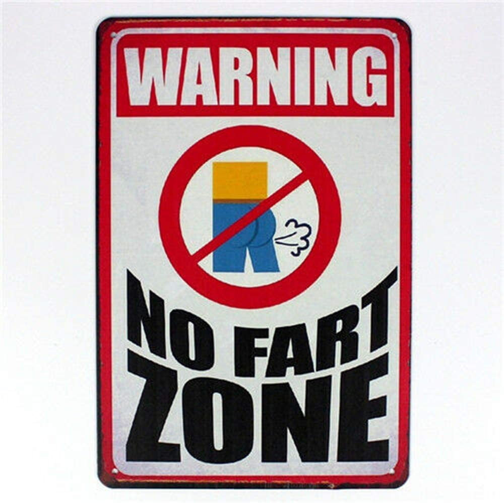 LORENZO Warning No Fart Zone Vintage Metal Cartel de Chapa Pared ...