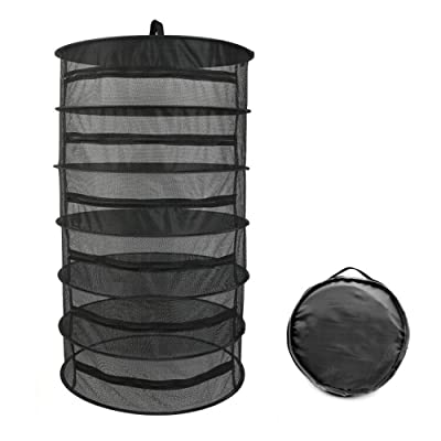 """Herb Drying Rack 6 Layer Collapsible Black Mesh Hanging Drying Rack with Zipper Opening (40.2"""" x 23.6"""") : Garden & Outdoor"""