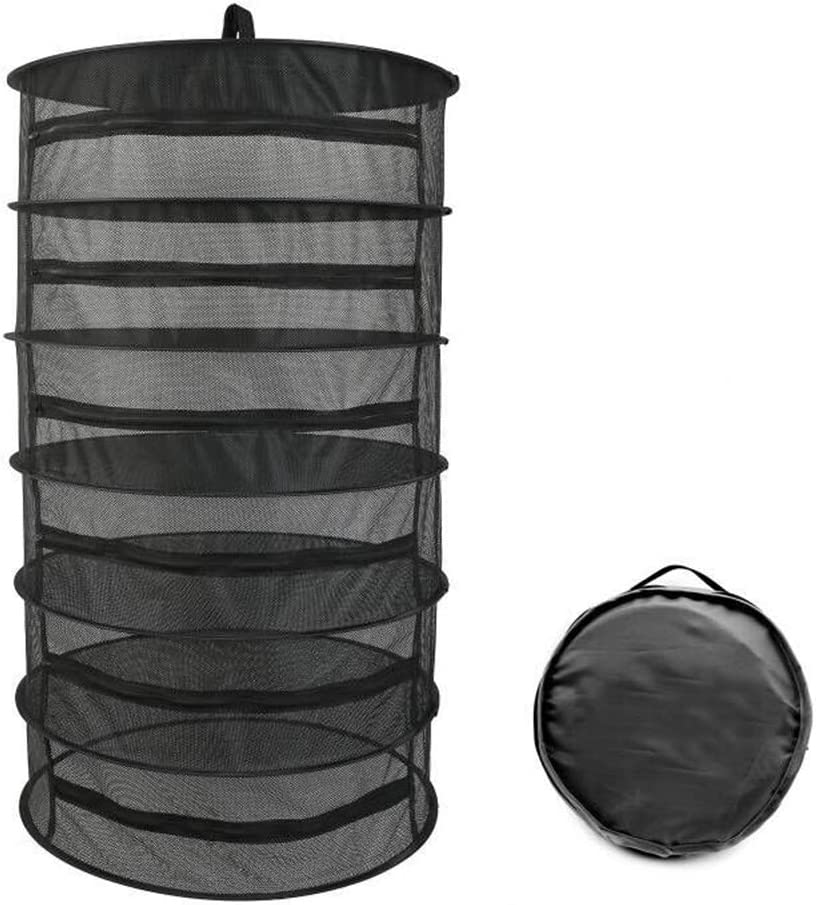 "Herb Drying Rack 6 Layer Collapsible Black Mesh Hanging Drying Rack with Zipper Opening (40.2"" x 23.6"")"