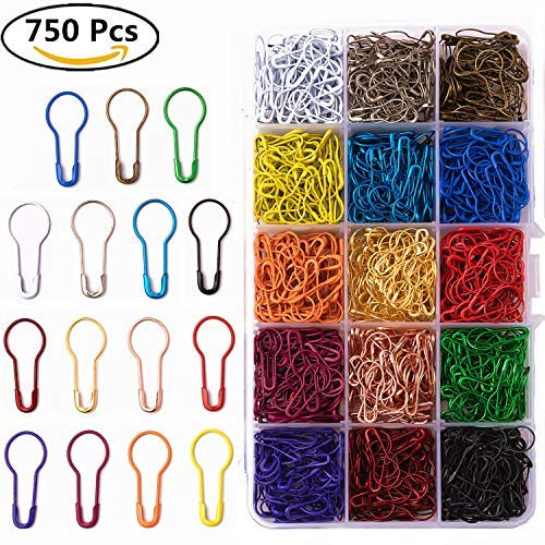 - 750 Pieces 15 Colors Assorted Bulb Safety Pins Pear Shaped Pins Calabash Pin Knitting Stitch Markers Sewing Making with Storage Box