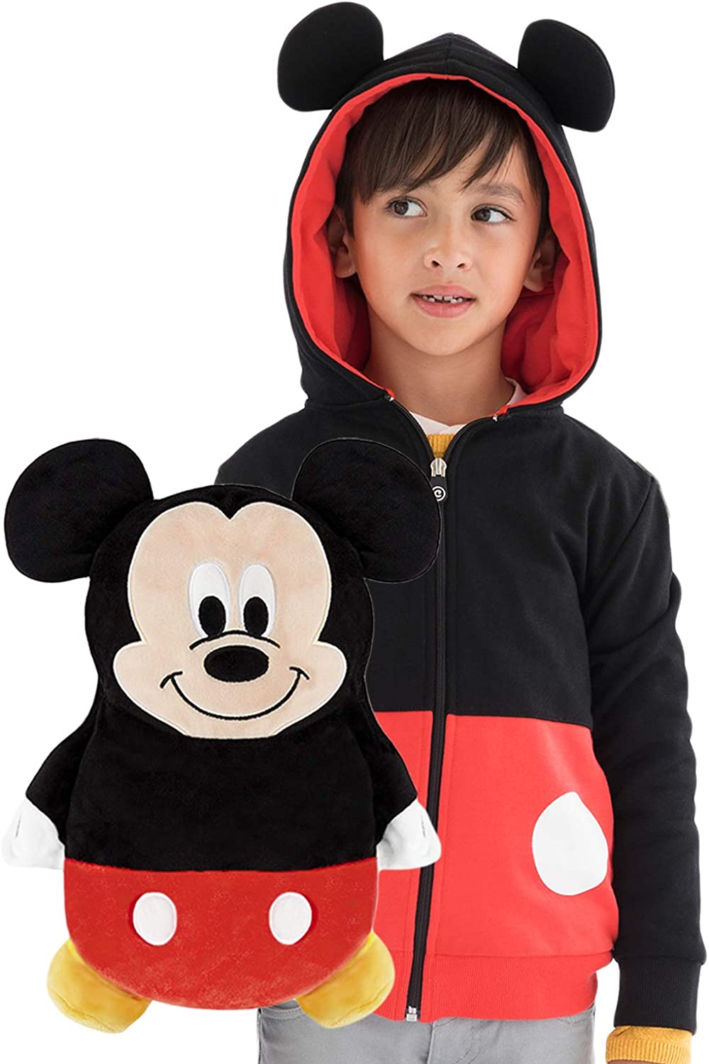 Cubcoats Mickey Mouse - 2-in-1 Transforming Hoodie and Soft Plushie - Red and Black
