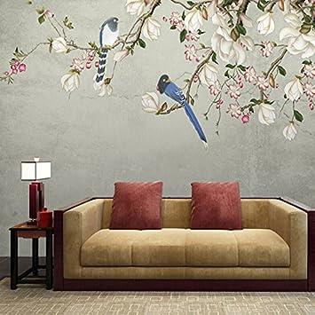HUANGYAHUI Wandbilder Moderne Chinesische Magnolienblüte Und Vogel Malerei  Das Wohnzimmer Tv Hintergrund Tapete Schlafzimmer Tapete Nahtlose