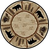 Rug Empire Rustic Lodge Area Rug, Round, Bear Cabin, Multi 7472 Review