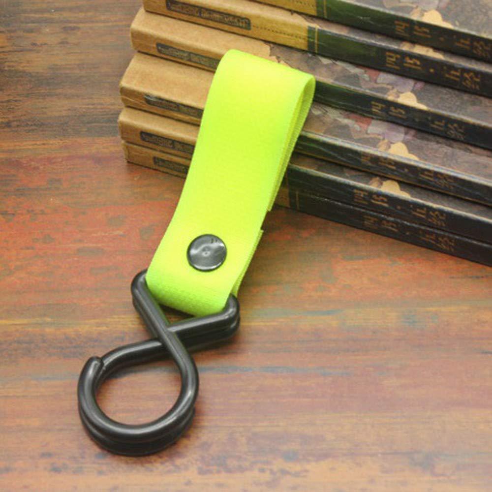 Gotian 1Pcs New Baby Kid Hang Pram Hooks Clips, Stroller Buggy Pushchair Hanger Plastic - Nylon Belt Design, Strong and Durable (Strap Length 6.69''/17cm,Width 0.78''/2 cm) (Green)
