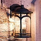 Luxury Rustic Outdoor Wall Light, Medium Size: 14.5''H x 9''W, with Colonial Style Elements, Wrought Iron Design, High-End Black Silk Finish and Seeded Glass, UQL1102 by Urban Ambiance
