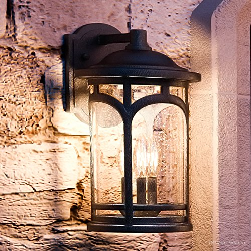Luxury Rustic Outdoor Wall Light, Medium Size: 14.5''H x 9''W, with Colonial Style Elements, Wrought Iron Design, High-End Black Silk Finish and Seeded Glass, UQL1102 by Urban Ambiance by Urban Ambiance