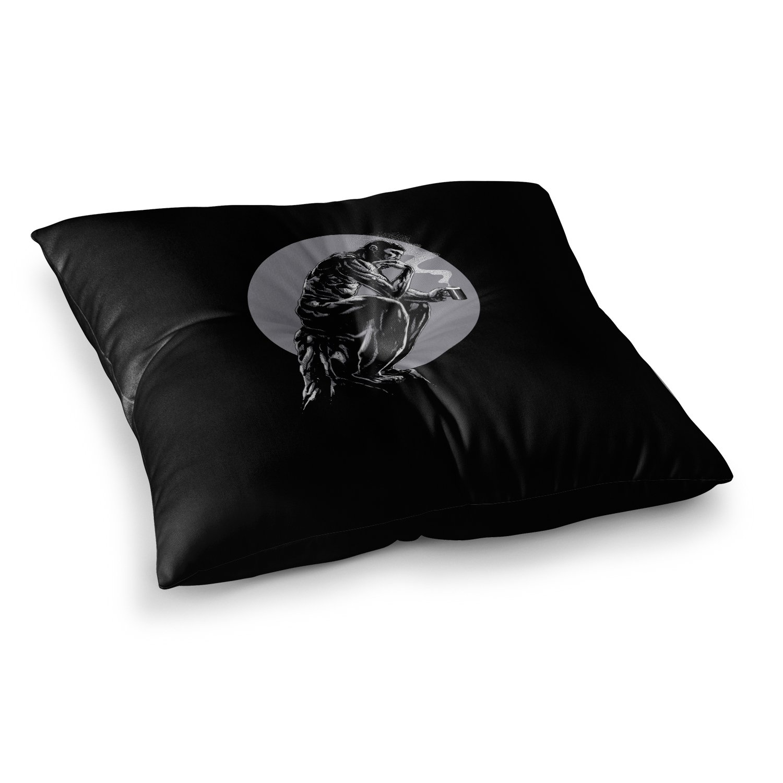 Kess InHouse BarmalisiRTB The Thinker Coffee Black White Digital Square Floor Pillow 23 x 23