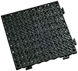 Durable Corporation Grit Modular Cushion Tile with Drainage Holes, Black (Pack of 36)