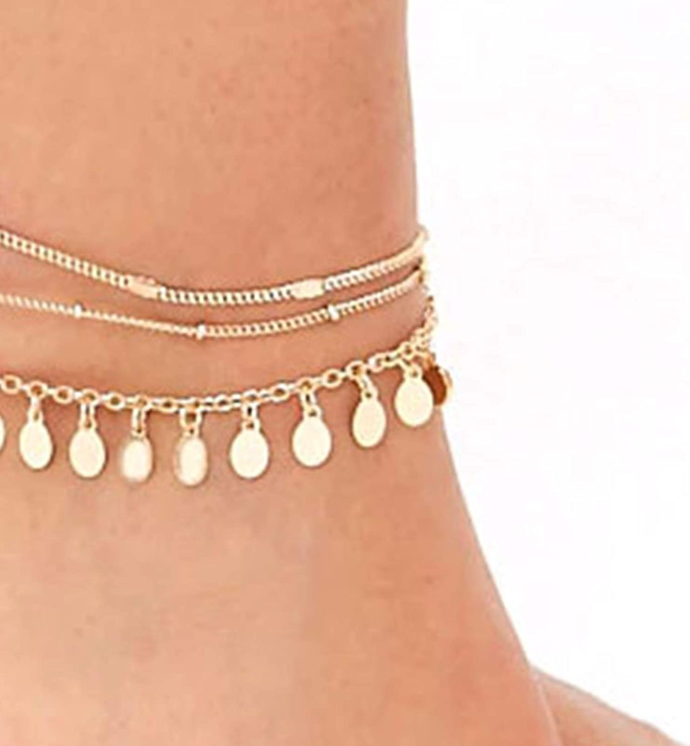 AMDXD Anklets for Women Friendship Gold Plated Multi-Layer Pearl Anklet Chain Summer Jewelry for Teens Gold 21CM