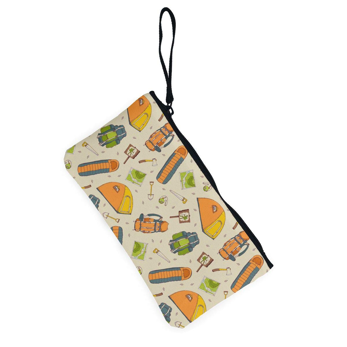 Womens Canvas Coin Purse Zipper Small Purse Wallets Cellphone Clutch Purse With Wrist Strap Picnic,travel,camping Pattern