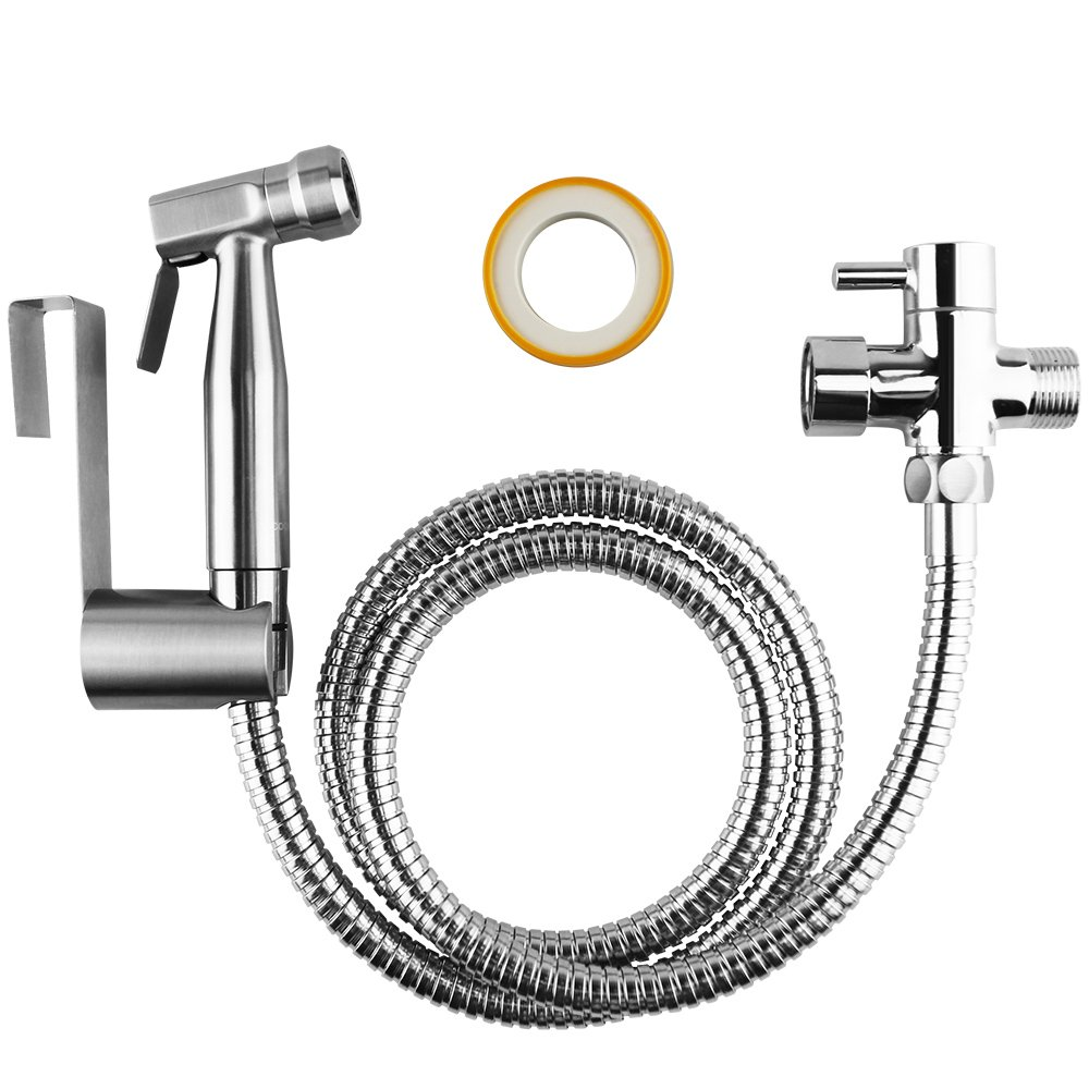 COCIVIVRE Handheld Bidet Sprayer Set for Toilet Attachment 304 Stainless Steel&Brass T-Adaptor Shattaf Cloth Diaper Sprayer Kit with Adjustable Water Pressure Bathroom Self Cleaning by COCIVIVRE (Image #2)