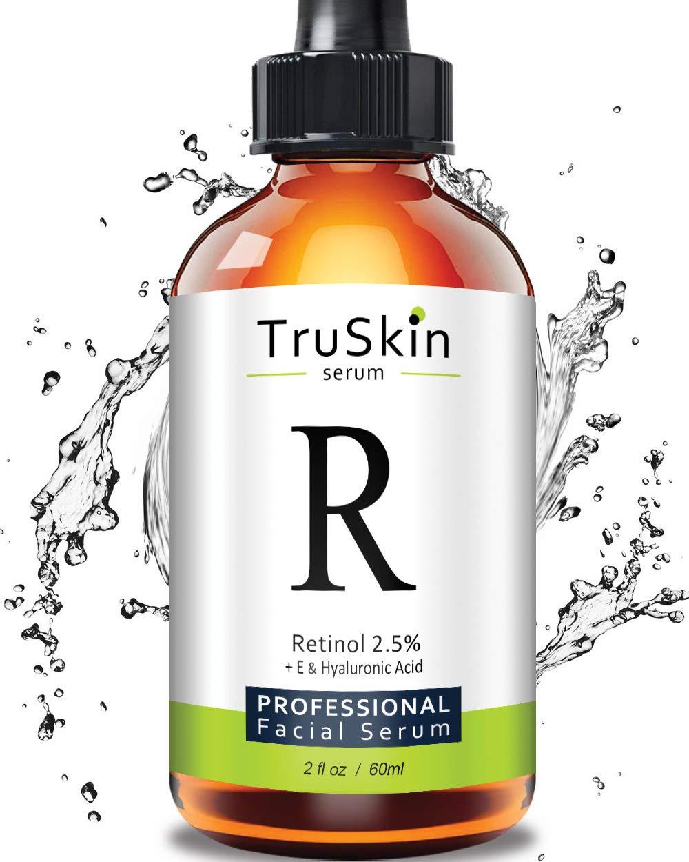 TruSkin RETINOL Serum for Wrinkles, Fine Lines - [BIG 2-OZ Bottle] - Vitamin A, E, Hyaluronic Acid, Organic Green Tea, Jojoba Oil, BEST Anti Wrinkle Facial Serum. 2oz