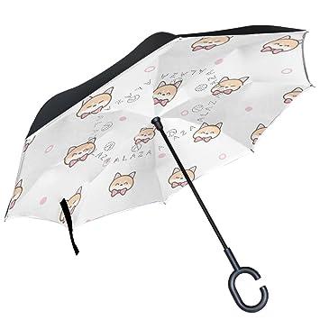 ALAZA Shiba Inu cara lazo lunares sobre blanco paraguas invertido doble capa resistente al viento Reverse