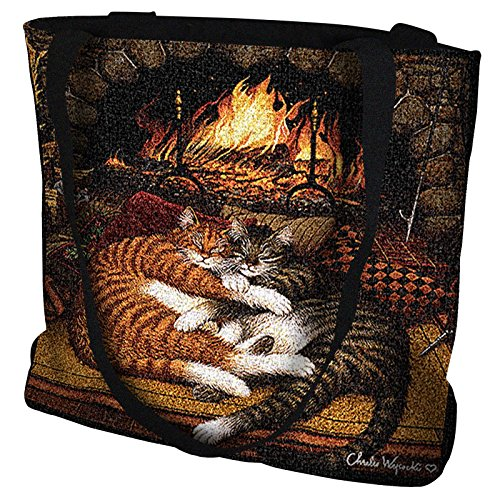 (Pure Country Weavers All Burned Out Cat Hand Finished Large Woven Tote Bag Cotton USA by Artisan Textile Mill)