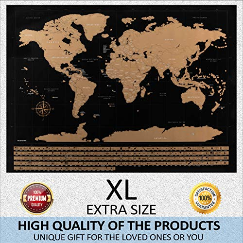 All & More Scratch Off Map -33 x 23 Large Scratchable World Map Poster With US State Borders & Vibrant Colors - Detailed Travel Journal & Planner With Scratcher & Adhesives - Great Gift For Travelers