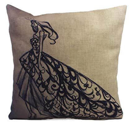 Molde cuadrado para Bromeo Cotton Linen manta diseño de chica con vestido de funda de almohada