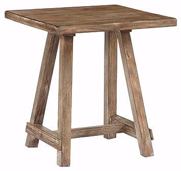 Ashley Furniture Signature Design   Vennilux End Table   Rustic Accent Side  Table   Square