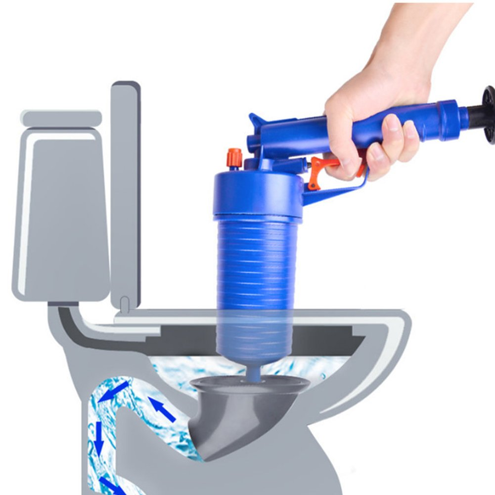 Air Power Drain Blaster Cleaner Gun with Four Plugs High Pressure Powerful Manual Sink Plunger Opener Cleaner Pump for Bath Toilets Bathroom Shower Kitchen Clogged Pipe Bathtub Elec tech