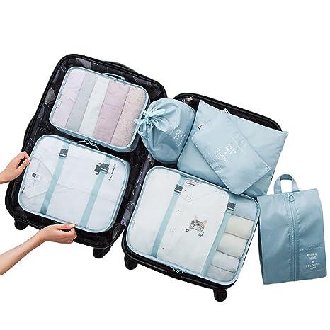 Dexinx Organizadores para Maletas,Set de 7 Viaje Impermeable Organizador de Equipaje para Ropa(3 Cubos Viaje + 4 Bolsas) Cielo Azul