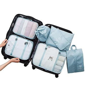 Dexinx Organizadores para Maletas,Set de 7 Viaje Impermeable Organizador de Equipaje para Ropa(3 Cubos Viaje + 4 Bolsas) Cielo Azul: Amazon.es: Hogar
