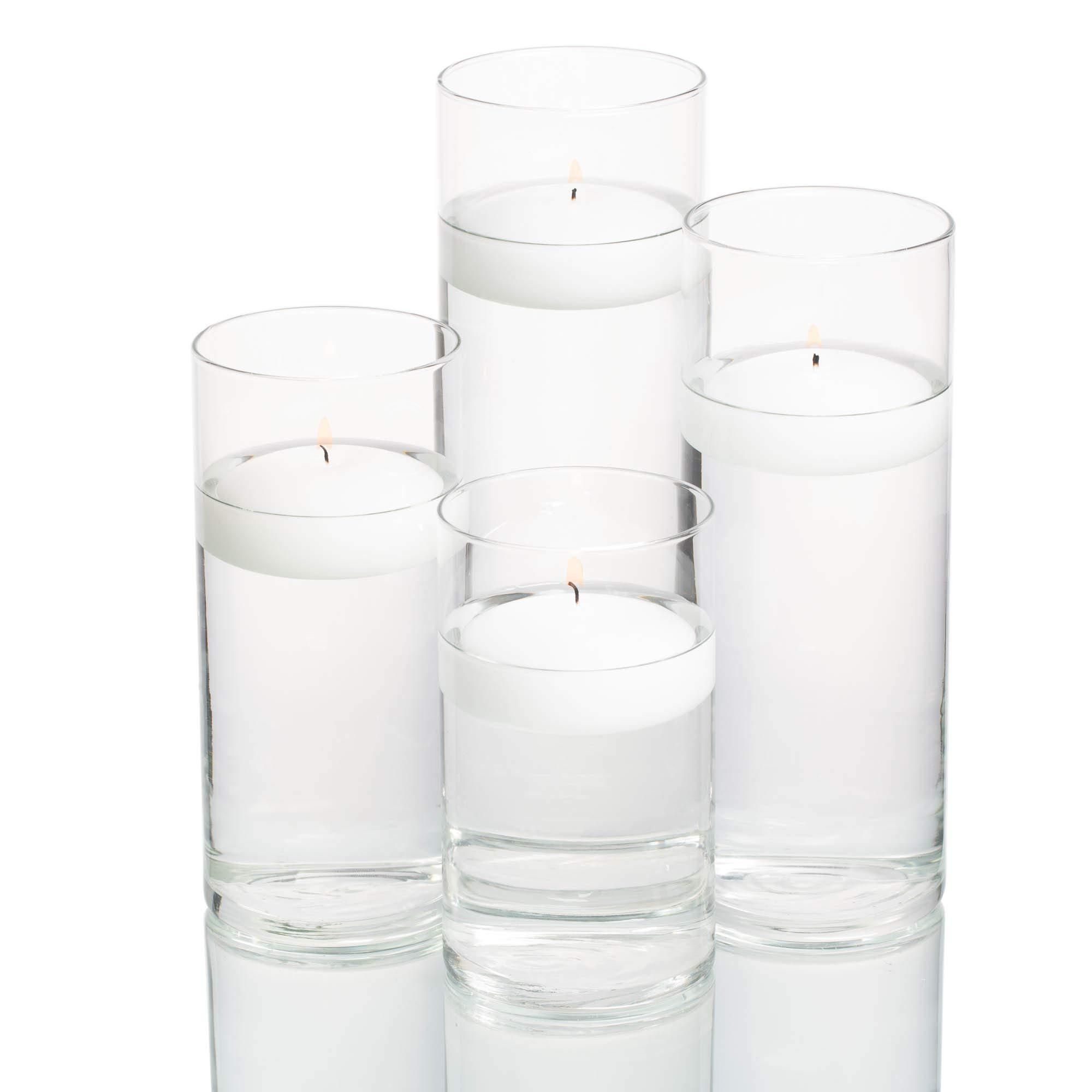 Set of 4 Eastland Cylinder Vases and 4 White Richland Floating Candles 3''