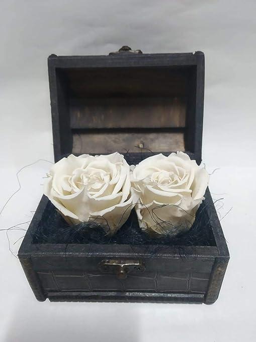 Rosas eternas Blancas. Gratis TU ENVÍO. Cofre de Madera con Dos ...