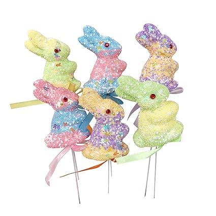 Amazon Com 6pcs Easter Rabbit Bunny Foam Picks Ornaments Easter